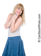 Cheerful blonde with a hand on a chin