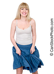 Cheerful blonde with the lifted skirt