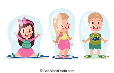 Cheerful Boy and Girl in Huge Soap Bubbles Vector Illustration Set