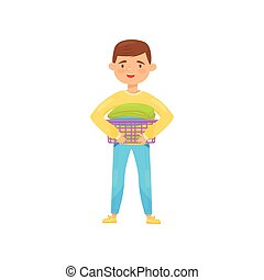 Cheerful boy holding small laundry basket with clean folded clothes. Housework and chores theme. Flat vector illustration