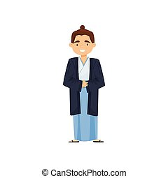 Cheerful boy in Japanese traditional clothes. Samurai kimono or hakama. National costume. Flat vector design