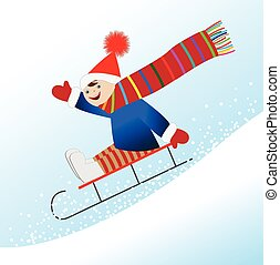 Cheerful boy is rolling on a sledge from the mountain