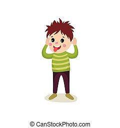 Cheerful boy kid character standing with hands up and making faces