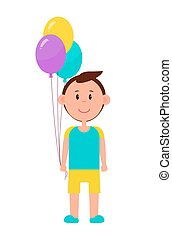 Cheerful Boy with Color Baloons Bright Picture