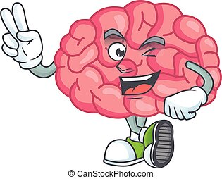 Cheerful brain mascot design with two fingers