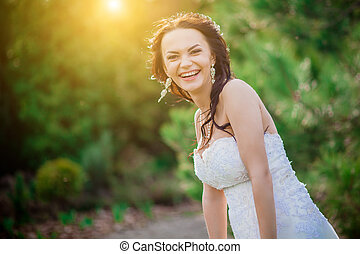 Cheerful bride showing happiness