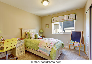 Cheerful brigh kids room with chalkboard and desk