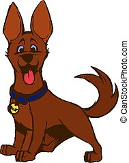 Cheerful Brown puppy stuck out his tongue, cartoon on a white background.