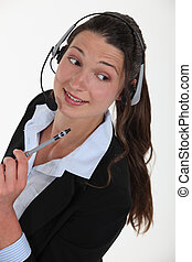 Cheerful brunette call-center worker