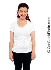 Cheerful brunette girl posing casually