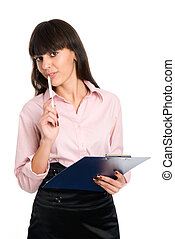Cheerful business girl with a clipboard in his hands