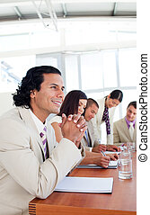 Cheerful business people having a meeting