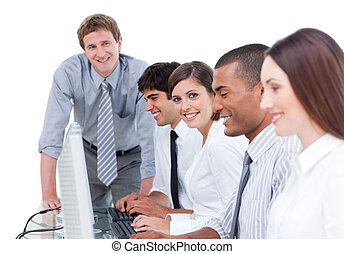 Cheerful business team at work
