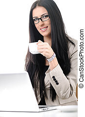 Cheerful business woman holding coffee cup