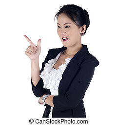 Cheerful business woman showing blank area for sign or copyspace, isolated over white background. Model is Asian woman