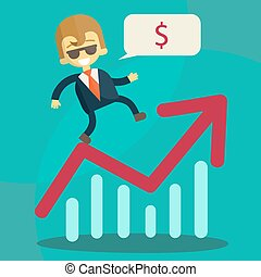 Cheerful businessman climbing a bar chart