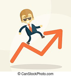 Cheerful businessman climbing a bar chart