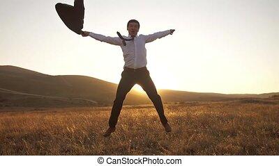 Cheerful businessman feel freedom