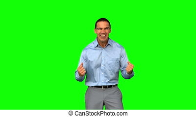 Cheerful businessman gesturing