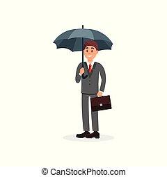 Cheerful businessman holding black umbrella cartoon vector Illustration on a white background