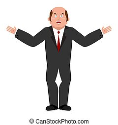 Cheerful businessman. Joyous boss. Happy Manager isolated