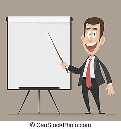 Cheerful businessman points to flip chart