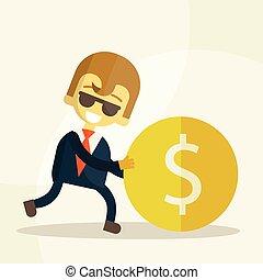 cheerful businessman rolls coin