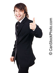"""Cheerful businessman showing """"Thumbs up"""" sign"""