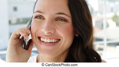 Cheerful businesswoman being on the