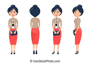 Cheerful Businesswoman Card Vector Illustration