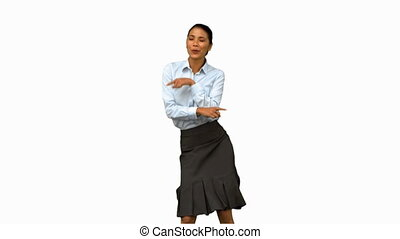Cheerful businesswoman disco dancing on white screen in slow motion