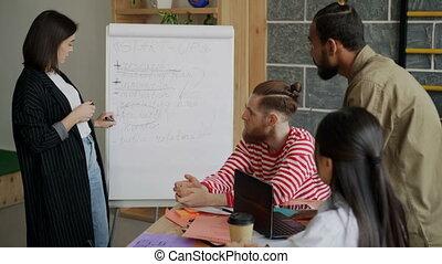 Cheerful businesswoman explaining start-up business brief on...