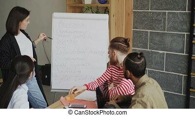 Cheerful businesswoman explaining start-up business plan...