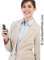 Cheerful businesswoman posing with