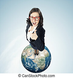 Cheerful businesswoman - Top view of young funny woman...