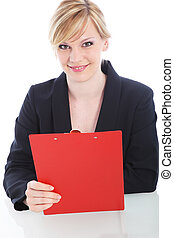 Cheerful businesswoman with a red clipboard