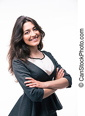 Cheerful businesswoman with arms folded