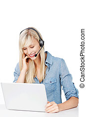 Cheerful Call center operator