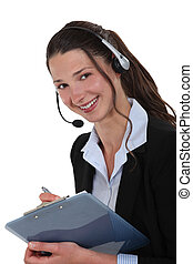 Cheerful call-center supervisor with clip-board