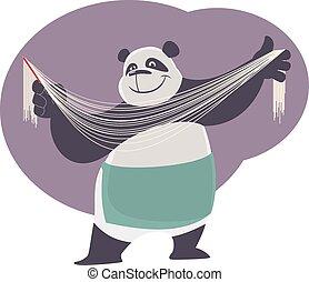 Cheerful cartoon cook Panda shows handmade chinese noodles.