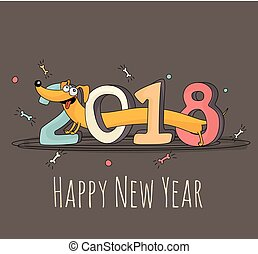 "Cheerful cartoon dog walking through ""2018"" lettering. New Year 2018 greeting card template."