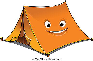 Cheerful cartoon orange tent with open front flaps and a...