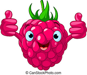 Cheerful Cartoon Raspberry charact - Illustration of...