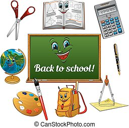 Cheerful cartoon school supplies with blackboard