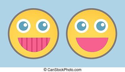 Cheerful Cartoon Smiley Set