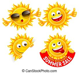 Cheerful Cartoon Sun Characters Set
