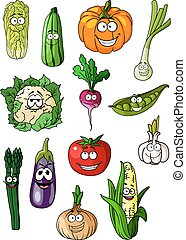 Cheerful cartoon various vegetables characters
