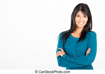 cheerful casual Hispanic woman