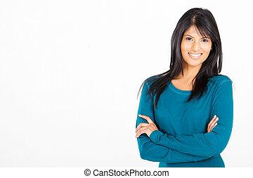 cheerful casual Hispanic woman