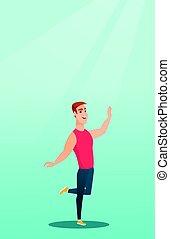 Cheerful caucasian man dancer dancing.